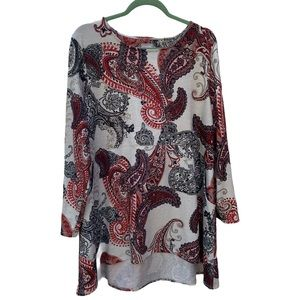 Chico's XL White Red Paisley Pockets Tunic Top